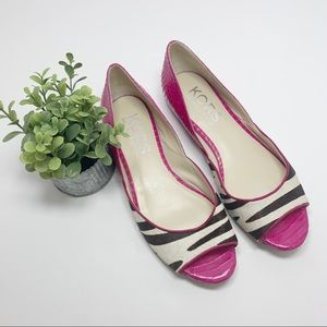 Michael Kors Hot Pink Leather and Calf Skin Flats